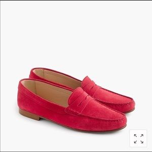 J. Crew red suede loafers
